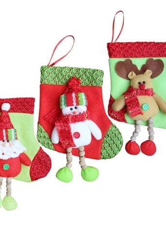 I sacchetti di caramella del regalo della renna di Snowman della Santa della calza delle calze di Natale di 3pcs / set decorano gli ornamenti di Decoartions di natale