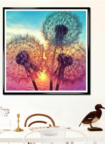 5D DIY Diamond Embroidery Dream Dandelion Sunset Cute Hedgehog Diamond Painting Rhinestone Home Decoration