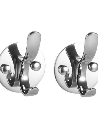 2pcs/set Stainless Steel Hooks Multifunctional Space-saving Clothes Hook SS Wall-mounted Hooks Single Hook Set