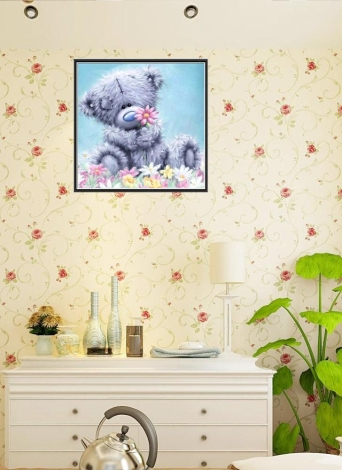 12 * 12 inches/30 * 30cm DIY 5D Diamond Painting Kit Bear Resin Rhinestone Mosaic Embroidery Cross Stitch Craft Home Wall Decor