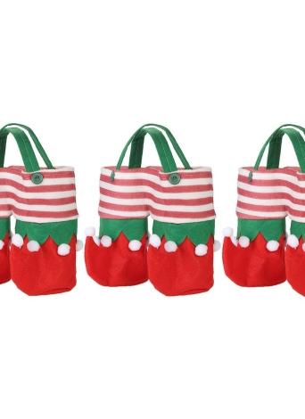 I sacchetti del regalo della caramella dei supporti della bevanda dei sacchetti di bottiglia di vino di natale 3pcs / set hanno regolato con gli ornamenti delle decorazioni di natale delle maniglie