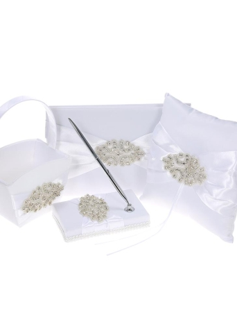 4pcs / set Rifornimenti di cerimonia nuziale Raso Flower Girl Basket + 7 * 7 pollici Ring Bearer Pillow + Guest Book + Portapenne con decorazione di strass