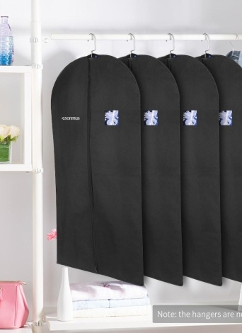 Esonmus Black 100 * 60cm Non-Woven Hanging Garment Clothes Bags Dustproof Moistureproof Mothproof Dress Suit Covers with PVC Window for Closet Travel--Pack of 4