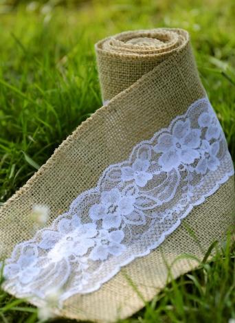 Vintage jute toile de jute avec rouleau de dentelle pour la décoration de mariage dans Table Runner parti chaise ceintures décoration de la maison
