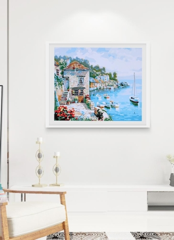 Frameless DIY Digital Oil Painting 16 * 20'' Harbour View Hand-Painted Cotton Canvas Paint By Number Kit Home Office Wall Art Paintings Decor