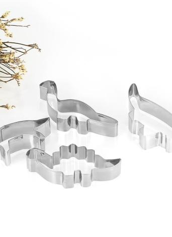 4 pezzi di acciaio inossidabile Dinosaur Cookie Cutters Fondotinta Cutter Biscuit Cutters Sandwich Cutters Set Cutter Cookie