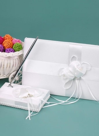 White Satin Ribbon Wedding Guset Signature Book and Pen Stand Set with Satin Flower Faux Pearls Decoration