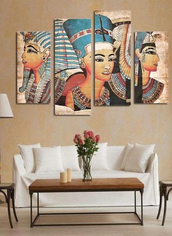 HD stampato 4-Panel senza cornice egiziano dipinto a parete modello tela pittura di arte della parete immagini modulari decorazione per la casa soggiorno camera da letto ufficio