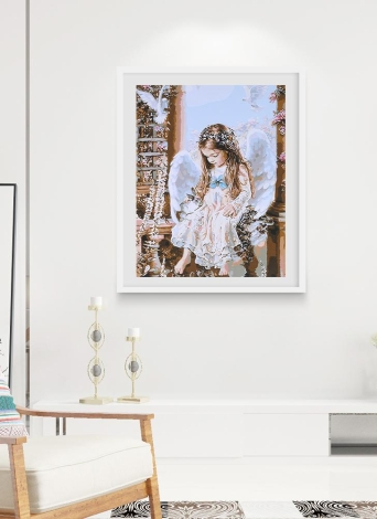 Frameless DIY Digital Oil Painting 16 * 20'' Little Angel Hand-Painted Cotton Canvas Paint By Number Kit Home Office Wall Art Paintings Decor