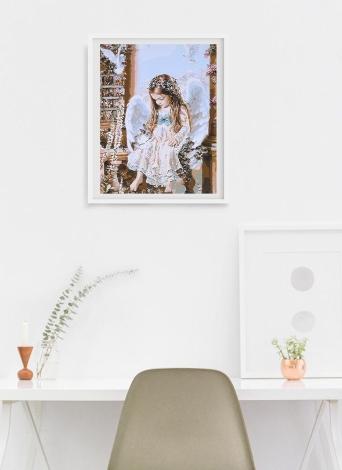 Frameless fai da te digitale pittura a olio 16 * 20 '' piccolo angelo dipinta a mano in cotone tela dipinta da numero kit home office wall art dipinti decor