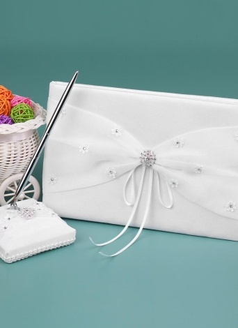 White Satin Wedding Guset Signature Book and Pen Stand Set with Lace Flower Faux Rhinestone Decoration