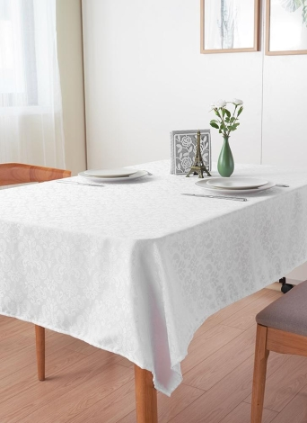 Htovila 87 * 55'' White Rectangle Dinner Tablecloth Polyester Thick Table Linen Cover Cloth for Wedding Party Home Festivals Events
