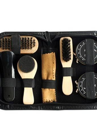 8PCS Portable Shoe Shine Care Kit Black & Transparent Polish Brush Set for Boots Shoes Care Complete Cleaner Kit