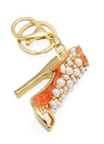 High-Heeled Shoes Key Chain Zinc Alloy Rhinestone Key Ring with Clip Hook Handbag Purse Car Pendant Ornament Decor