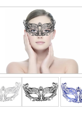 Festnight Fashionable Black Laser Cut Metal Half Mask with Rhinestones Masquerade Ball Halloween Mask Fancy Gift