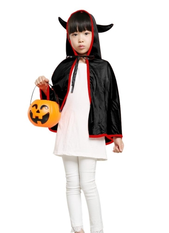 Unisex Kids Halloween Cloak with Ox Horn Hood Cosplay Role Play Party Cape Costumes for Boys Girls Orange
