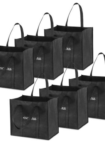 Esonmus 6pcs / set polyvalent réutilisable non-tissé grande épicerie sacs fourre-tout pliable sacs à provisions stockage sacs à main avec double poignées renforcées - noir