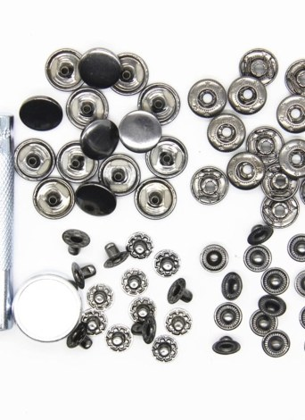 15mm 15pcs a Set of Metal Snap Button with Fastener Installation Tool for Children and Adult Clothes and Leather