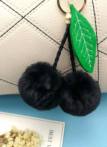 Cherry Key Chain Soft Faux Fur Ball Pompom Key Ring Handbag Purse Car Pendant Ornament Decor--Red