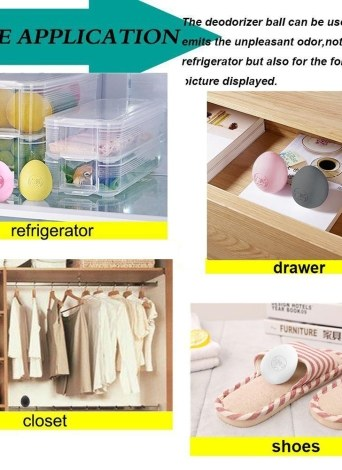 Refrigerator Deodorizer Ball Fridge Odor Eliminator Egg Air Purifier Fishy Musty Moisture Remover Absorber Non-chemical Yellow