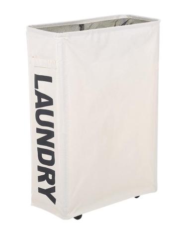 Angoli sottili pieghevoli Oxford Panno per bucato Cestino Bin maglia coulisse stendibiancheria con 4 aste di supporto Ruote universali - Beige