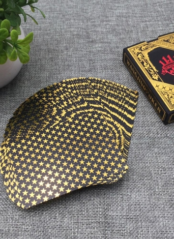55pcs/deck Waterproof Luxury Black Gold Foil Plated Poker Premium Matte Plastic Board Games PVC Bronzing Playing Cards Set Casino (Gold)