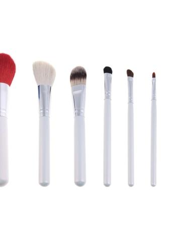 7pcs brosse de maquillage professionnel Set cosmétique brosse outil Kit maquillage avec fleur modèle Cup Holder affaire Red
