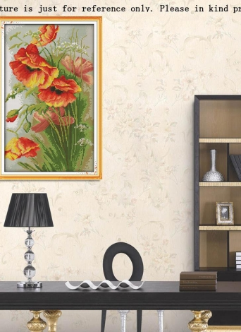 Costura hecha a mano DIY contó punto de Cruz bordado Set Kit CT 14 flores amapola patrón gofrados de decoración del hogar de los 52 * 35 cm