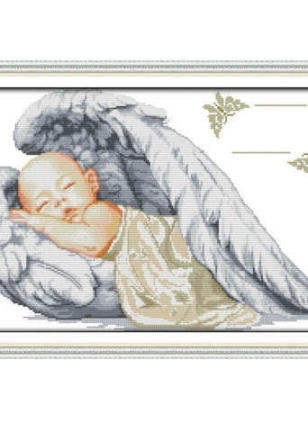 DIY Handmade Needlework Counted Cross Stitch Set Embroidery Kit 14CT Little Angel Pattern Cross-Stitching 51 * 36cm Home Decoration