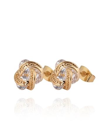 1pair claro de cristal de circón oro de 18K plateado pendiente del perno prisionero oído girar hoja Luna joyas regalo para mujer dama