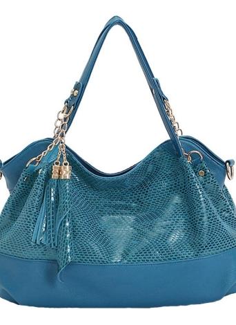 Neues Mode Damen Umhängetasche Snakeskin Muster PU Leder Quasten Kette Handtasche Crossbody Tasche Tote