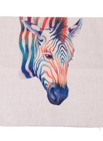 Anself Giraffa Zebra Animali Cotone e Lino federa posteriore Cuscino cuscino di tiro di caso per letto Divano auto Oggettistica per la casa decorativo 45 * 45cm