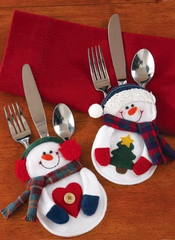 2PCS Christmas Silverware Holder Pockets Santa Tree Hanging Decorations Christmas Supplies Table Ornaments