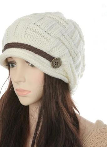 Новые зимние женские шапочки коренастый мешковатые шапка теплые лыж Hat Cap для волос белый