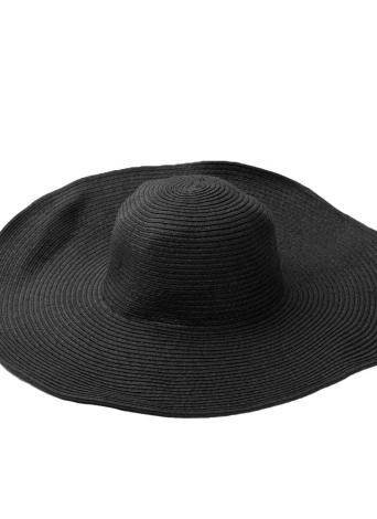 Moda bonito mulheres verão palha praia chapéu aba larga grande chapéu de sol dobrável preto