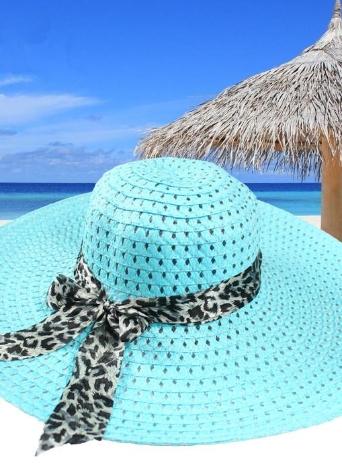 Moda donna cappello da sole cappello di paglia ampio orlo estate spiaggia  Cap con leopardo nastro 4d08c31d75ed
