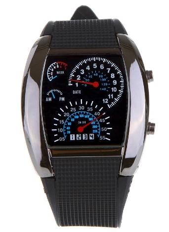Cool Car Meter Dial Unisex Flash Dot Matrix LED Racing Reloj