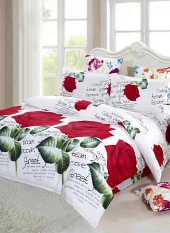 4pcs 3D Printed Bedding Set Bedclothes Red Rose In Full Bloom Duvet Cover  Bed Sheet 2