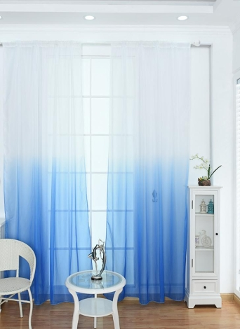 39 * 79inches Polyester Semi Blackout Gradient Color Window Curtain Panel  Living Room Bedroom Hotel