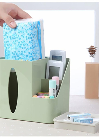 Simple Desktop Multifunctional Tissue Box Cover Living Room Office Sundries Makeup Cosmetics Remote Control Storage Pink