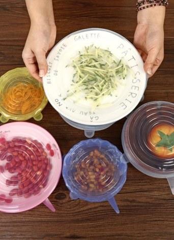6 pezzi Coperchi in silicone elastico Trasparenti Contenitori per alimenti ermetici Coperchio riutilizzabile per pentole Tazze per conservare alimenti Freschi Lavastoviglie e congelatore 6 Confezione di varie dimensioni (Trasparente)