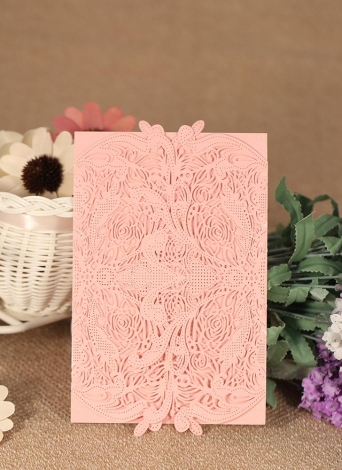 20pcs/set Wedding Invitation Card Set Pearl Paper Laser Cut Hollow Floral Pattern Invitation Cards Pink