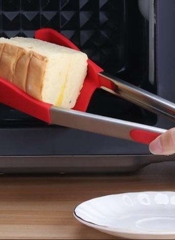 12 pulgadas cocina multifuncional inteligente 2 en 1 espátula y pinzas antiadherente calor resistencia carpeta de alimentos verde