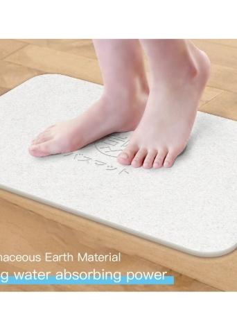 Tapis de bain de terre de diatomées Déodorant antibactérien antidérapant Tapis de sol de salle de bain Absorbant doux confortable plus facile à sécher gris