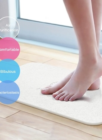 Diatomaceous Earth Bath Mat Antibacterial Deodorant Nonslip Bathroom Floor Mats Absorbent Soft Comfortable Easier to Dry Grey