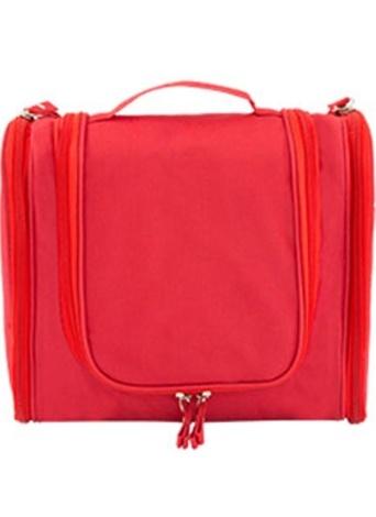 Portable accrochant le sac d'organisateur de toilette pliable grande capacité maquillage cosmétique cas de voyage accessoires de salle de bain rouge