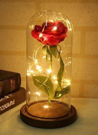 Decorazioni floreali Simulazione Rose Glass Cover Beautiful Luminoso LED Glass Hotel Festival Ornament Regalo di compleanno