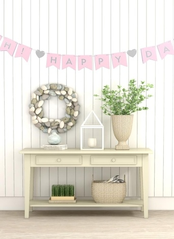 OH! HAPPY DAY Themed Flags Banner Decorative Paper Banner with 2m Cord Wedding Birthday Party Festivals Decorations Supplies--Silver