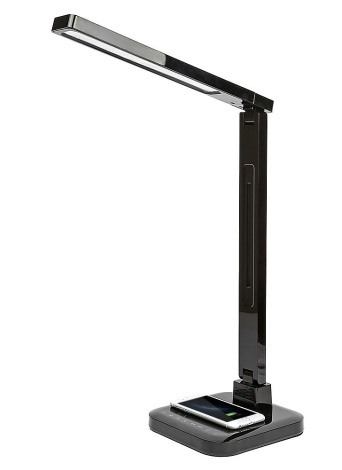 Lampe de Bureau LED Protection des Yeux Lampes de Table Intelligentes Support de Bureau Qi Charge Sans Fil Toucher Luminosité Contrôle de la Température de Couleur Lumière Pliable Rotatif Dimmable 1.5A Charge USB