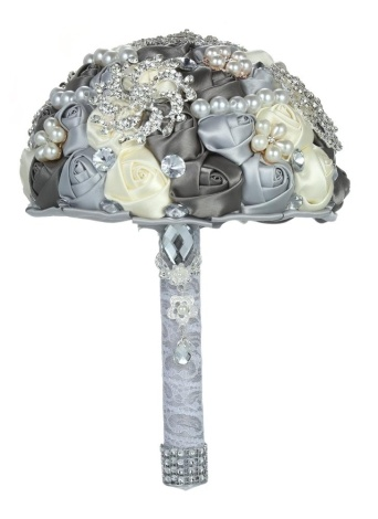 18cm Handmade Wedding Brooch Diamond Bridal Bouquet Satin Rose Flower with Rhinestone Artificial Pearls Beads Decorated for Bride Wedding Supplies--Grey